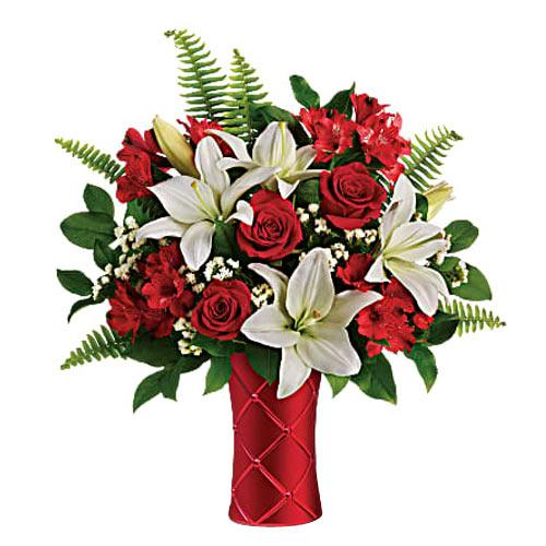 Attractive White Lilies N Red Roses Arrangement in Ceramic Vase