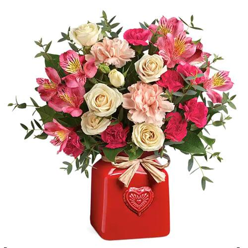 Aromatic Floral Selection of Creamy Rose N Peach Carnation in Ceramic Crook for V-Day