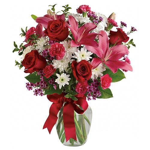 Ambrosial display of Red Roses N Pink Lilies
