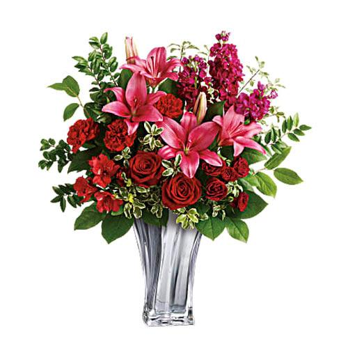 Breathtaking Bouquet of Red Roses N Pink Lilies in a Glass Vase