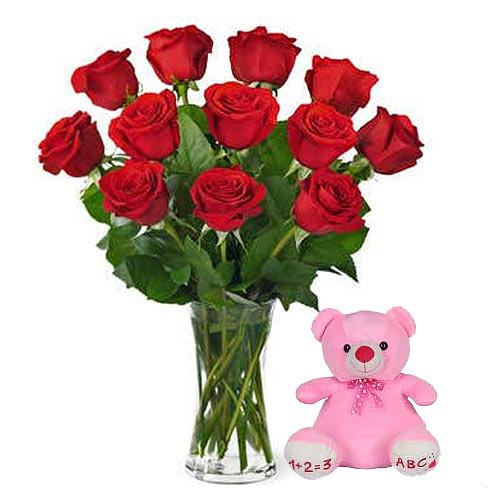 Blooming V-Day Red Roses in a Glass Vase with Adorable Teddy