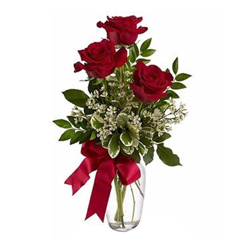 Beautifully Designed Red Roses in a Glass Vase for Valentines Day  <br>