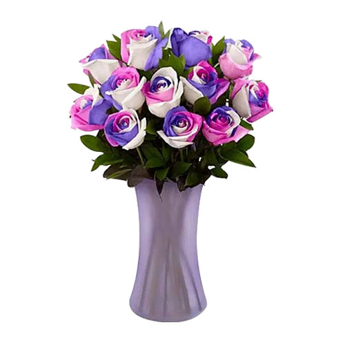 Artistic Mixed Color Presentation of Roses decked in a Vase
