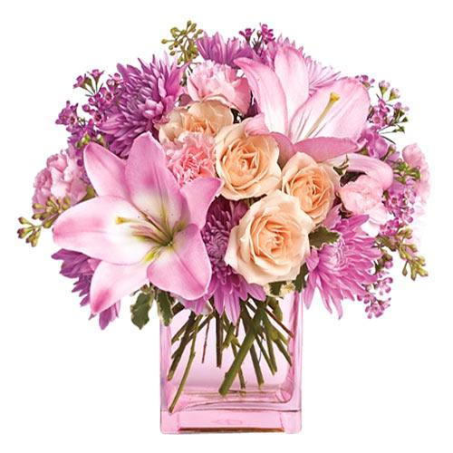 Tender Pink Color Assorted Flowers Arrangement in a Vase <br>