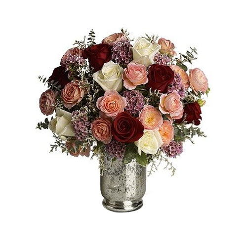 Tender Colorful Roses adorned in a Silver Mercury Glass Hurricane Vase<br>
