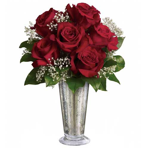 Exotic V-day Red Roses Bouquet in a Silver Mercury Glass Vase