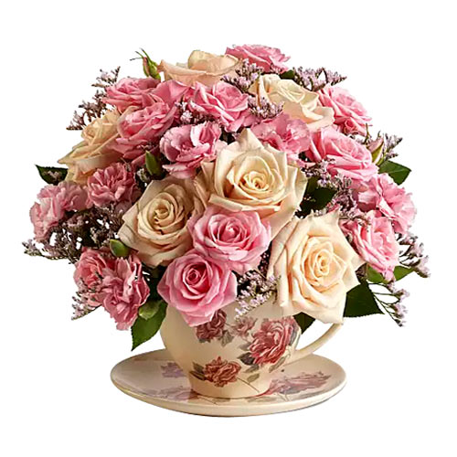 Glorious Pink Color Roses placed in a Floral Tea Cup Set  <br>
