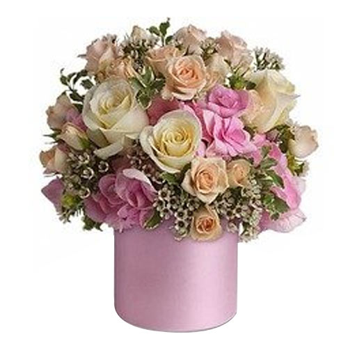 Glorious Floral Assortment beautified in a Satin Pink Color Vase <br>