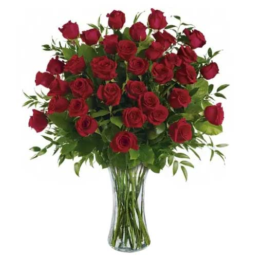 Beautiful Red Roses kept in a Glass Vase